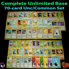 NM Unlimited COMPLETE Pokemon BASE 70-Card Uncommon/Common Set Trainer Energy