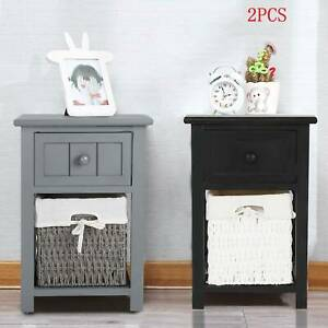 Pair of Wooden Bedside Tables Night Stand Cabinet Storage Drawer Wicker Basket