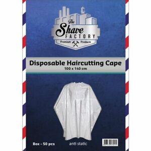 DISPOSABLE Salon & Barber CAPE | Polythene Hairdressing Gown PPE | 50 pcs