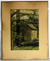 "7"" Antique Litho Print Old Stone Cabin In The Woods Landscape View Art Decor"