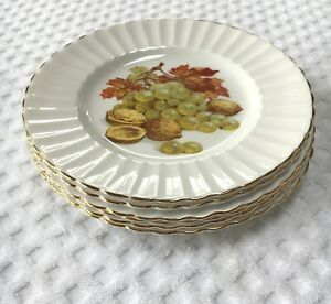 Royal Tuscan Fine Bone China Salad Plate Fruit Nuts Grapes Pears Cherry Set of 6