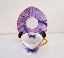 "Grace's Teaware Cup/Saucer ""Purple/Blue Butterfly Design"" Petal Shape Saucer"