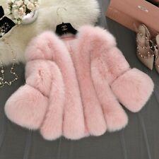 Womens Lady Snow Jacket Short Faux Fox Fur Short Parka Overcoats Outwear Warm