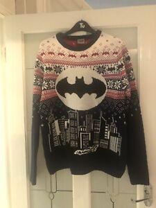 Mens Batman Christmas Jumper Size Medium / M Vgc