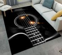 Black Guitar Strings Living Room Yoga Carpet Bedroom Floor Mat Decor Area Rugs