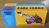 Corgi 69 Massey-Ferguson 165 Tractor With Shovel Empty Repro Box Only