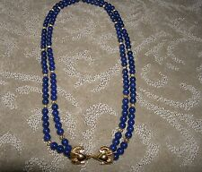 Vintage Haute Couture Signed KJL Kenneth Jay Lane Blue Rams Head Necklace New
