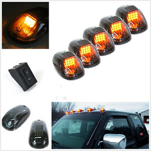 5 Pcs 12V Smoked Lens Car Cab Roof LED Amber Marker Running Light + Accessories