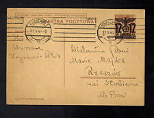 1940 Warsaw Poland Germany Overprinted GG PS Postcard cover to Rzeszow