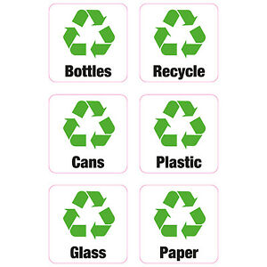 6 x Recycling Bin Vinyl Stickers Shop Business Home Bottles Paper Cans Plastic