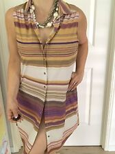 HOWARD SHOWERS WOMENS DRESS STRIPED KNEE LENGHT Buttons NWT STRETCH WORK SZ 14