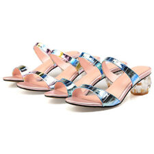 Ladies Slippers Shoes Shiny Genuine Leather Mid Heels Strap Sandals AU Size S264