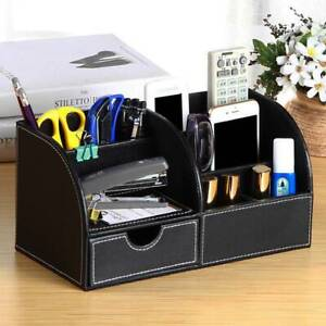 Desk Organiser Card Pen Phone Remote Control Holder Storage Box PU Black