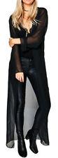 Ladies Maxi Chiffon Sheer Long Sleeve Kimono Jacket Open Full Length Waterfall