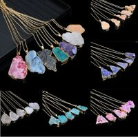 Natural Quartz Crystal Healing Point Chakra Bead Gemstone Chain Pendant Necklace