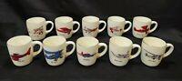 Vintage SET of 10! USA Aviation Airplane Pilot Ceramic Coffee Cups Mugs HTF LOT!