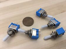 5 pcs White sleeve cap boot Toggle Switch SPST MTS-101 6mm 1/4 small on off b12
