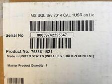 Hpe Microsoft Sql Server 2014 Standard Ed. 1 User Cal License 768861-B21 *New*