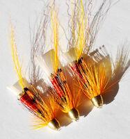 Allys Shrimp Orange x 3 salmon flies - Tungsten, Brass & Conhead tubes