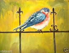 "Oil Painting On Canvas 12""x 16"" -Blue Bird on Fence"