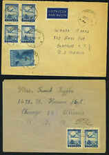 POLAND 1946-47 TWO AIRMAIL COVERS SLUPCA TO SYRACUSE
