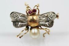 VICTORIAN 18K SOLID GOLD ROSE CUT DIAMONDS RUBY PEARL INSECT FLY BUG BEE PIN