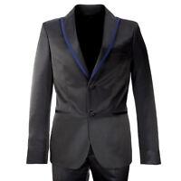 MANUEL RITZ EVENING Black w/ Blue Trim 2-Pc Wool Blend Suit 112A359R $568 NWT