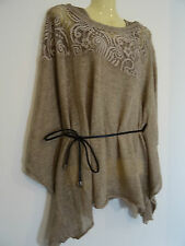 Women Ladies Mohair HOT SEXY Top Tunic Lagenlook Poncho quirky 2 in 1 layer lace