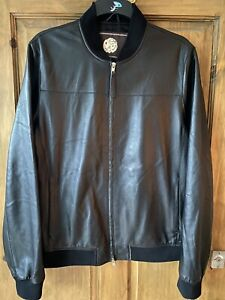 Pretty Green Leather Jacket - Adult Large Liam Gallagher Bomber - Paisley Inner