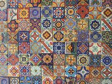 """SET with 100 TILES,  2 X 2""""  Mexican mixed designs handcrafted ceramic clay"""