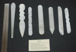 Selenite polished wands Crystal natural healing Reiki wand Carved cutting ties