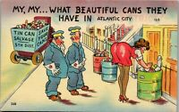 beautiful cans they have in Atlantic City 1940's Era Humor Vintage Postcard