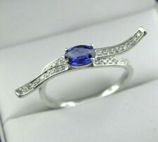 Natural Diamond & Blue Sapphire Ring in 14k Solid White Gold, Sz 7.25