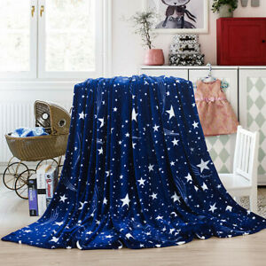 Large Soft Warm Fleece Cuddly Star Fur Throw Sofa Double King Bed Blanket