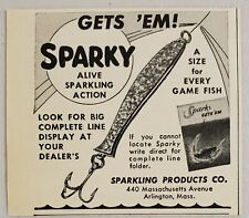 1951 Print Ad Sparky Alive Fishing Lures Sparkling Products Arlington,Ma
