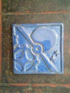 Arts Crafts blue custom memorial  pottery tile