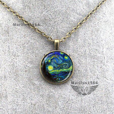 ZA0030 Vintage Van Gogh Starry Night Painting Cabochon Dome Pendant Necklace