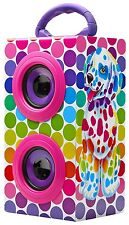 LISA FRANK PORTABLE BLUE TOOTH WIRELESS SPEAKER SPOTTY PUPPY NEW IN BOX (H17)
