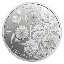 20 $ Dollar Pearl Flower Mother of Pearl Perlmutt Kanada 1 oz Silber PP 2017