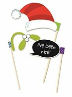 Pack of 6 Festive Photo Booth Posing Props Christmas Party Fun