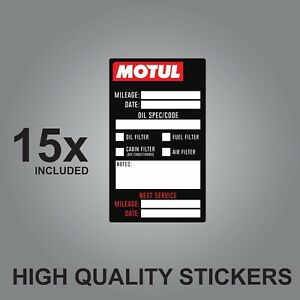 15x Motul Oil Change Service Reminder quality printed stickers adhesive labels