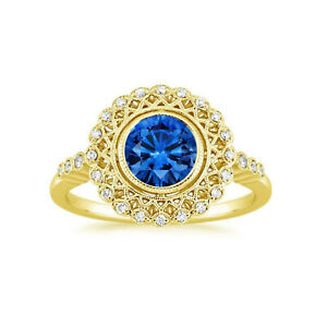 1.55 Ct Round Natural Sapphire Diamond Engagement Ring 14K Yellow Gold Size K L