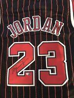 Michael Jordan Signed / Autograph Black Pinstriped Jersery w/COA Bulls.
