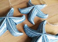 3 x Seesterne Hängen 9cm Blau Maritim Meer Nordsee Keramik Urlaub Shabby Chic