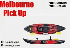 Fishing Kayak Single Sit-On 3M 5 Rod Holders Seat Paddle Melbourne Red Black