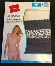 Hanes Perfect Stretch Womens Hipsters 3 pr Gray White Animal Print Lace 5/S NWT