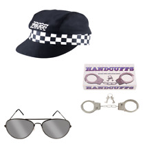 Fancy Dress Police Officer Accessories - Cap (H21197) Mirror Glasses + Handcuffs