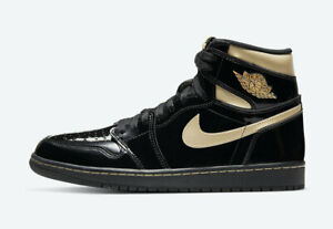 2020 Nike Air Jordan 1 Retro High OG Patent Black Metallic Gold 555088-032