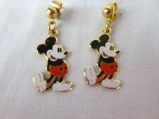 Vtg Enamel Mickey Mouse Pierced Earrings Walt Disney Productions