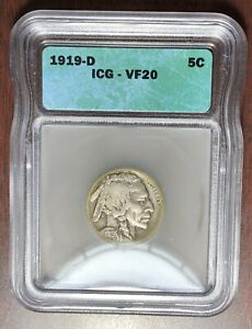 1919 D ICG VF-20 Buffalo Nickel  #W6861